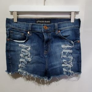 Express Jeans Blue Distressed Shorts Women Size 2